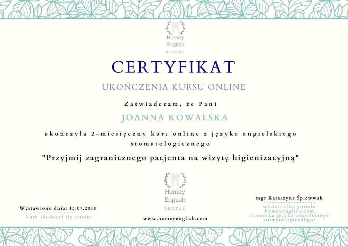 certyfikat Homey English
